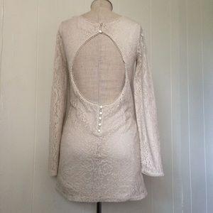 Nude Lace Backless Dress